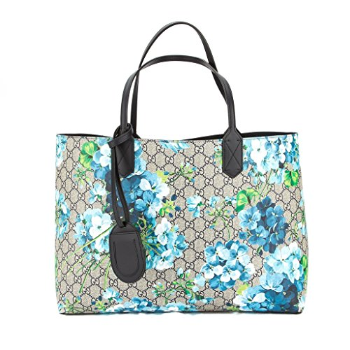 51JiSHo3%2BPL Gucci Blossoms Blue Navy Reversible GG Blooms tote Leather Handbag Bag New Dustbag. Serial number Care booklet Featuring our Signature GG Blooms print on one side and solid leather on the other, this medium size tote is made with our innovative reversible leather, patented exclusively to Gucci.