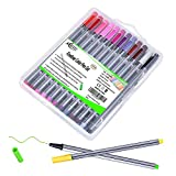 24 Color No Bleed Through Pens Markers Set 0.4 mm Fine Line Colored Sketch Writing Drawing Pen for Bullet Journal Planner Note Taking and Coloring Book