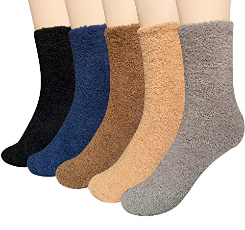 Loritta 5 Pairs Womens Fuzzy Socks Winter Warm Cozy Fluffy Super Soft Slipper Socks, C-5 Pairs - Solid Color 01