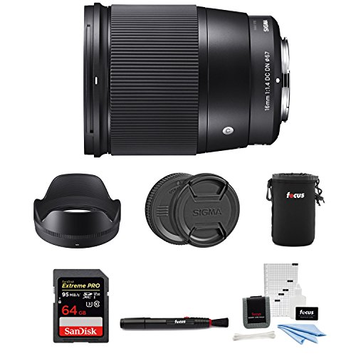 Focus Camera Sigma 16mm f/1.4 DC DN Contemporary Lens for Sony E w/ 64GB SD Card