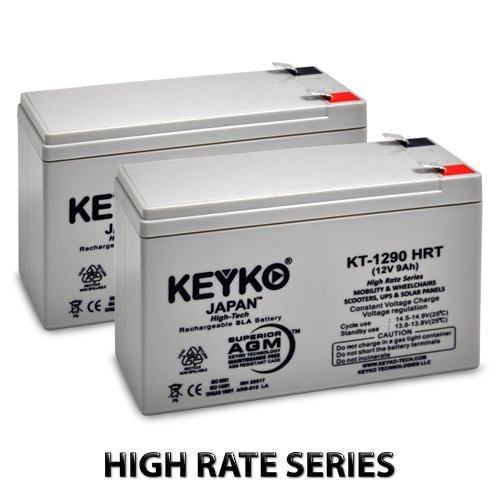 12V 9Ah Deep Cycle AGM / SLA Battery for Wheelchairs Scooters Mobility UPS & Solar - 2 Pack - Genuine KEYKO - F-2 Terminal