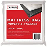 CRESNEL Mattress Bag for Moving & Long-Term Storage - Queen Size - Enhanced Mattress Protection with 5 mil Super Thick Tear & Puncture Resistance Polyethylene (Value Pack of 2pcs)
