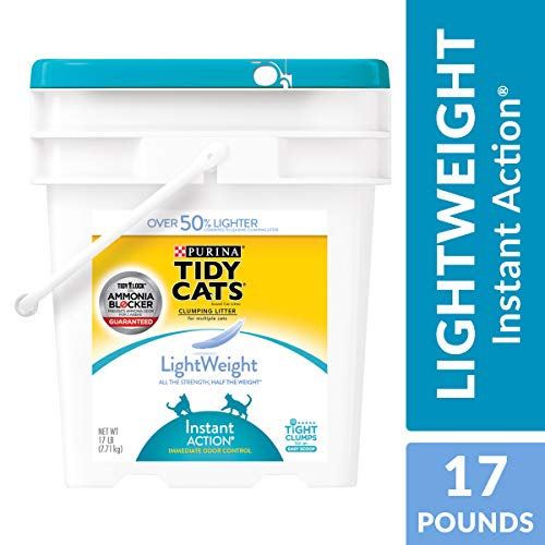 Purina Tidy Cats Light Weight, Dust Free, Clumping Cat Litter; LightWeight Instant Action Multi Cat Litter - 17 lb. Pail