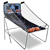 Smartxchoices 2-Player 8-in-1 Indoor Arcade Basketball Game Dual LED Scoreboard Folding Electronic Basketball Game w/ 4 Balls Inflation Pump - Kids Home Pro Basketball Hoop Stand System