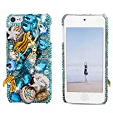 Touch 6 Case - Mavis's Diary 3D Handmade Bling Crystal Lovely Mermaid with Blue Shiny Sparkle Glitter Diamonds Rhinestone and Colorful Shell Starfish Clear Hard Cover for iPod Touch 6th Generation