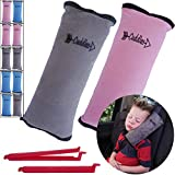 Seat Belt Pillow for Kids by Cuddles   2 Pack Seatbelt Pillow  seat Belt Pillows  Kids Seatbelt Pillow  Seatbelt Pillow for Kids  car Travel Head Cushion, Washable Cover, Headrest Pink Gray