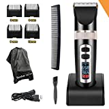 Professional Electric Hair Clippers For Men, Best Hair Trimmer Quiet Cordless For Boy & Kids, Personal Ceramic Hair Cutting Cape Gift Set, Household USB LED Display Rechargeable Haircut Kit (Black)