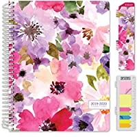 """HARDCOVER Academic Year 2019 Planner: (July 2019 Through July 2020) 8.5""""x11"""" Daily Weekly Monthly Planner Yearly Agenda. BONUS Bookmark, Pocket Folder and Sticky Note Set. (Spring Floral)"""