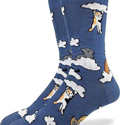 Good Luck Sock Men's Cloud Cats Crew Socks - Blue, Shoe Size 7-12