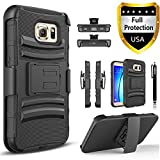 Galaxy S7 Edge Case, Combo Rugged Phone Cover Holster with Built-in Kickstand and Holster Locking Belt Clip with Circlemall Stylus Pen for Samsung Galaxy S7 Edge (Black)