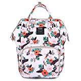 Diaper Bag Backpack for Mom, Floral Mummy Maternity Nappy Bag Organizer Nursing Bottle Bag, Insulated Pockets, Multifunctional Travel Rucksack Casual Daypack for Baby Care
