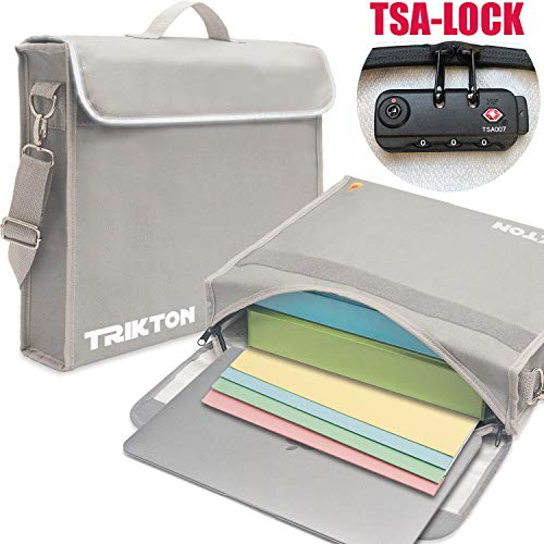 Trikton Fireproof Document Bag, XL Silver, with TSA-Lock, Visible in The Dark, Stores Bulky Binders Without Fold Them, X-Large (15'x12'x3') Fire and Water-Resistant Safe Briefcase | Money Bag