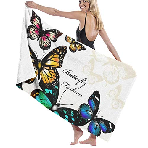 NiYoung Ultra Soft 100% Polyester Bath Towels Fashion Butterfly Colorful Monarch Butterflies Quick Dry Hand Towels Shower Towel Body Towel Bath Sheets, Machine Washable Ultra Absorbent Women's Wrap