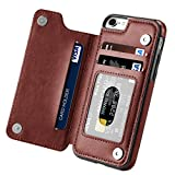 Hoofur iPhone 7 Case, iPhone 8 Case, Slim Fit Premium Leather iPhone 7 Wallet Casae Card Slots Shockproof Folio Flip Protective Shell for Apple iPhone 7/8 (4.7 Inch) (Brown)
