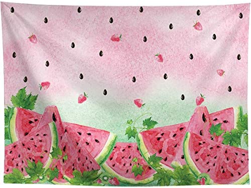 Allenjoy 8x6ft Summer Watermelon Photography Backdrop Supplies for Newborn Kids Girls Boys Birthday Party Decorations Fabric Baby Shower Studio Portrait Pictures Shoot Props Favors Banners Background 1