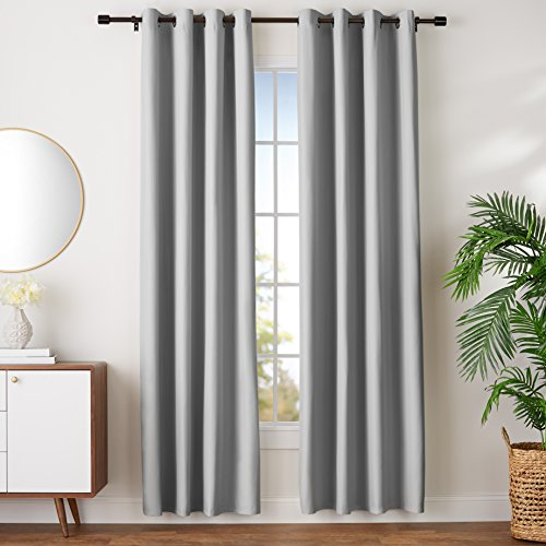 AmazonBasics Room-Darkening Blackout Curtain Set with Grommets - 52' x 96', Light Grey