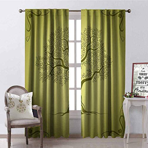 GloriaJohnson Olive Green Shading Insulated Curtain Mediterranean Olive Tree Silhouette with Ornamental Frame Nature Inspirations Soundproof Shade W52 x L54 Inch Olive Green