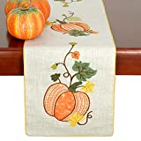 Grelucgo Halloween and Thanksgiving Holiday Table Runners, Fall Autumn Harvest Decorations, Embroidered Pumpkins, Rectangular 14×90 Inch