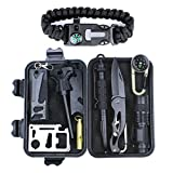 HSYTEK Survival Gear Kit 11 in 1,Professional Outdoor Emergency Survival Kit with Tactical Pen|Bracelet|Temperature Compass|Fire Starter|Flashlight for Camping, Hiking ,Travel or Adventures Necessary
