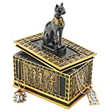 Design Toscano Royal Bastet Cat Goddess Egyptian Jewelry Box Statue, 6 Inch, Polyresin, Black and Gold