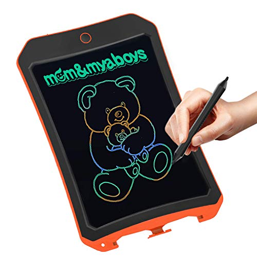 mom&myboys Upgraded Colorful Screen 8.5 Inch Electronic Writing Board Doodle Board-Best Gifts for Kids & Adults (Orange)