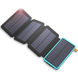 X-DRAGON 20000mAh Solar Charger Power Bank with Foldable Solar Panels, Dual USB, LED Flashlight Waterproof Portable External Battery Backup for iPhone, Cell Phones, ipad, Tablet and More