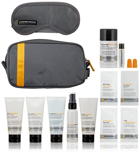 51K3RCM4HqL Packaged in our stylish Personal Travel Bag and complemented with extras like sleep mask, earplugs and free samples. TSA Compliant: All liquid products are under three ounces and fit comfortably in a one-quart zip-top plastic bag (included). Travel-sizes of our most popular products; scientifically developed for men and free of fragrance, dyes and irritants to provide the highest levels of quality and results.