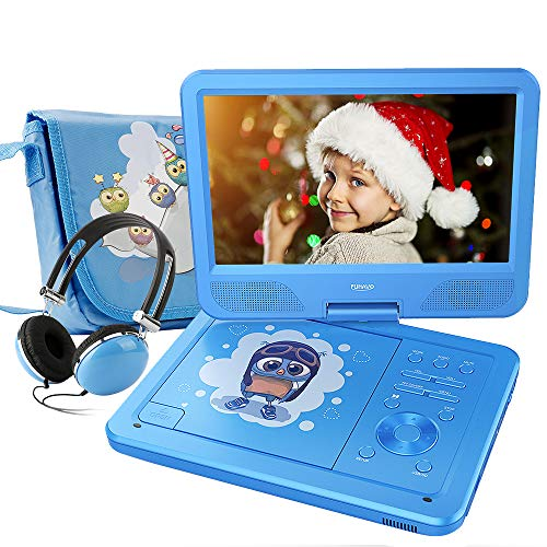 FUNAVO 10.5' Portable DVD Player with Headphone, Carring Case, Swivel Screen, 5 Hours Rechargeable Battery, SD Card Slot and USB Port (Blue)