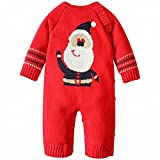 ZOEREA Baby Sweater Adorable Elk Pattern Infant Thick Romper Suit 0-18 Months (Label 18M/90 (Advise 12-18 Months), Red 2)