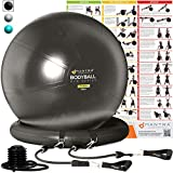 Exercise Ball Chair - 65cm & 75cm Yoga Fitness Pilates Ball & Stability Base for Home Gym & Office - Resistance Bands, Workout Poster & Pump. Improves Balance, Core Strength & Posture - Men & Women
