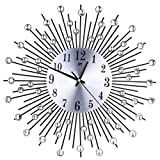 FZZ698 3D Wall Clock, Diamonds Decorative Clock, for Home Kitchen Office Diameter 38cm (Black)