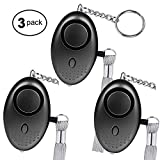 140 DB Personal Alarm Keychain, 3 Pack safesound Siren Song with LED Light Emergency self Defense Device as Bag Decoration Work for Women, Kids,Elderly. (3Pack, Black)
