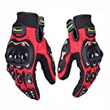 Protective Motorcycle Gloves Powersport Cycling Mountain Bike Men Women Gloves 01G (M, Red)