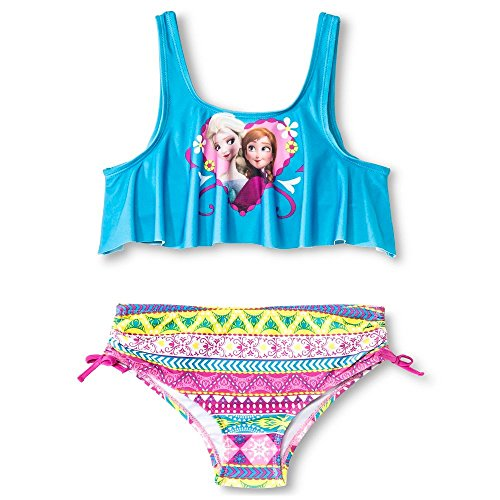 Frozen Girl's 2 Pc Bikini Bathing Suit Anna Elsa Flounce Top Blue Swimsuit (Large)