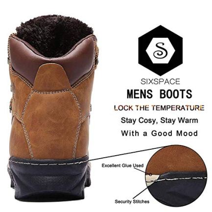 6494e1ac2bf Sixspace Mens Womens Winter Boots Warm Light Snow Walking Boots Ladies Faux  Fur Lined Ankle Shoes Footwear with Non-Slip Rubber Sole for Casual ...