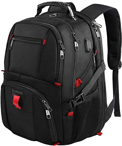 18.4 Laptop Backpack,Large Computer Backpacks Fit Most 17.3 and 18 Inch Laptop with USB Charger Port,TSA Friendly Flight Approved Weekend Carry on Backpack w/Luggage Strap for Men and Women