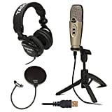 Cad U37 USB Condenser Recording Microphone (Silver) w/ Full-Size Headphones and Knox Pop Filter
