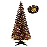 5FT Pop Up Tinsel Branches Trees with Plump Pumpkin Sequin for Indoor Halloween Decorations, Collapsible Artificial Halloween Xmas Black Tree with Plastic Stand for Haunted House,Yard Office Classroom