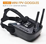 5.8Ghz FPV Goggles, Arris VR-009 Video Headset 5.8G 40CH HD 3 inch 16:9 Display Mini FPV Goggles FPV Quadcopter Drones