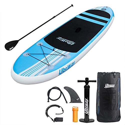 UBOWAY Inflatable Stand Up Paddle Board with Adjustable Paddle, Backpack, Pump, Elastic rope, Fin, Repair Kit 110 x 30 x 6 Inch (Blue)