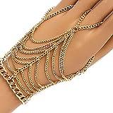 yueton 1pc Tassel Pink Copper Plated Women Girl Hand Harness Bracelet Bangle Chain Link Finger Ring Bracelet