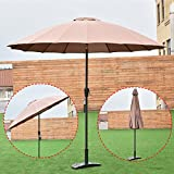 Umbrellas NEW Tan Outdoor 9ft Patio Sunshade Cover Market Garden Cafe Crank Tilt