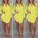 Leinsparn Women Casual Loose Long Chiffon Shirts Spring Long Sleeve Collar Sexy Blouses Tops Plus Size Mini Dress Yellow Xxl