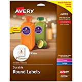 Avery Round Labels for Laser & Inkjet Printers, 2.5', 72 Water Resistant Labels (22856), White