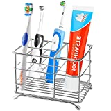 Famistar X-Large 1.5x1.5 Electric Holders,Stainless Steel Bathroom Storage Organizer Stand Rack,Multi-Functional 6 Slots for Kids Adult Toothbrushes,Toothpaste,Cleanser,Co, Silver-02