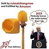 E-Mike Trump Toilet Brush with Stand, Orange Nylon Bristles 16-Inch Long Handle, Make Your Toilet Great Again.
