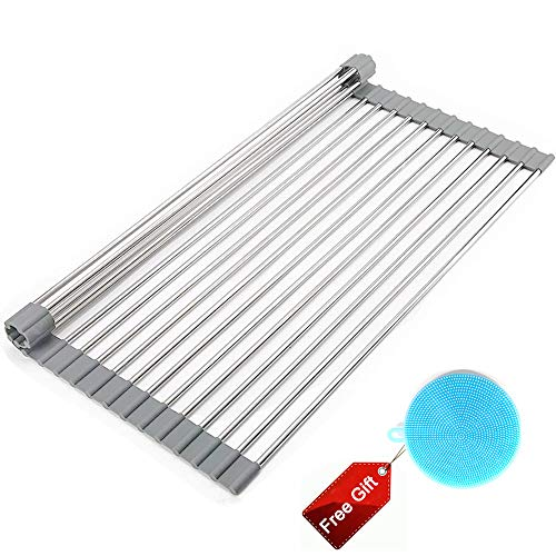 FANHAO Over The Sink Roll Up Dish Drying Rack, Multipurpose Foldable Stainless Steel Rack Kitchen Drainer Rack Extra Large