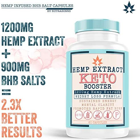 Hemp Oil Capsules for Pain & Ketosis   Advanced BHB Exogenous Ketones Supports Weight Management, Appetite Control, Increase Metabolism, Energy and Mental Focus - Pure Hemp Oil Supplements 60 Capsules 2