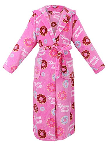 Bath Robe Kimono Robe Hooded Robe Plush Flannel Fleece Bathrobe Sleepwear,Donuts