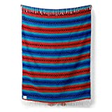 Mexican Serape Blanket | Classic Artisan Throw | Woven Falsa in Traditional Colors | Beach, Camping, Couch, Sofa, Picnic or Yoga Blanket | Ruby Red Azure